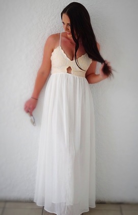 SheIn Beige Lace Splicing Spaghetti Strap Maxi Dress