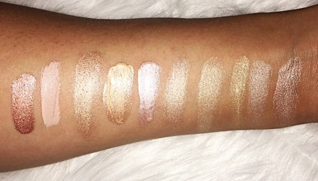 Highlighter Swatches: Becca, The Balm, NYX, Trestique, City Color, Benefit, Temptu
