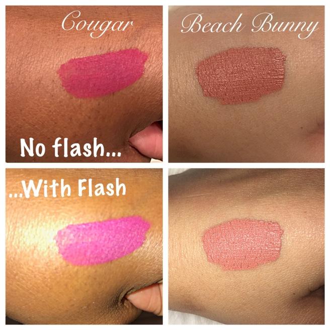 Makeup Geek Swatches Plush Matte Lip Cougar & Beach Bunny