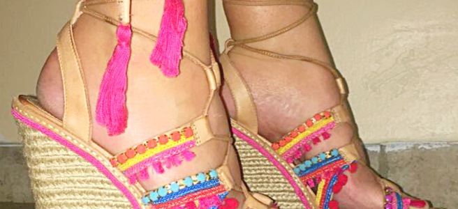 """Top 10 Posts of 2017: """"Buy This, Not That!"""" - Embellished Pom Pom Wedges & Sandals"""