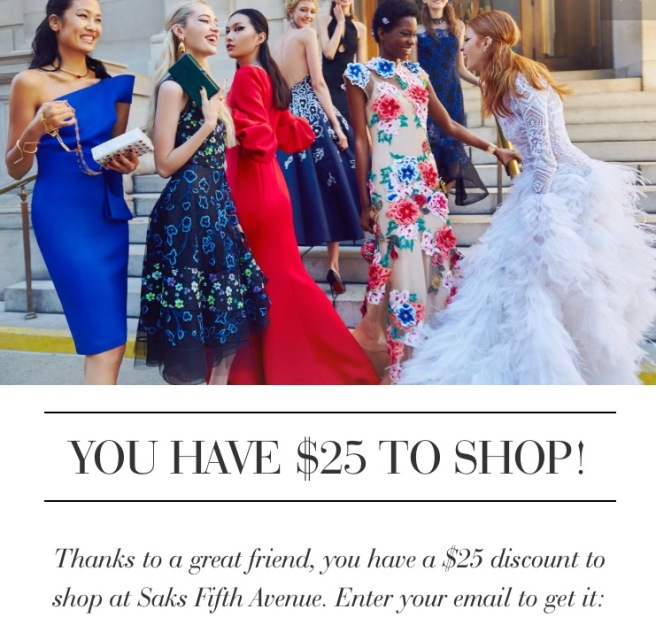Saks Fifth Avenue $25 off coupon code promo code