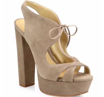 Saks Schutz Jorie Suede Peep Toe Platform Slingback Sandals