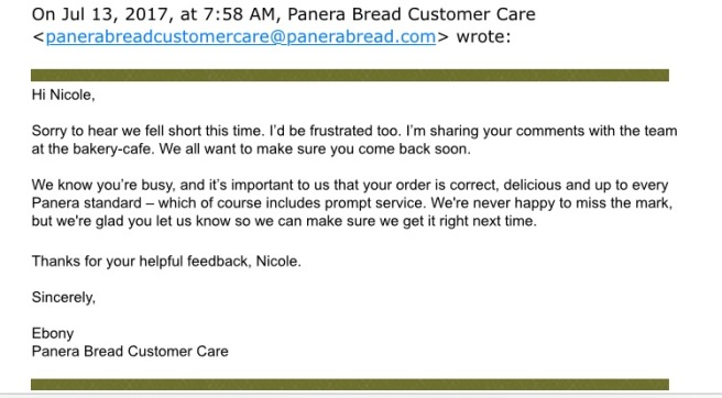 Horrible Panera Bread Customer Service