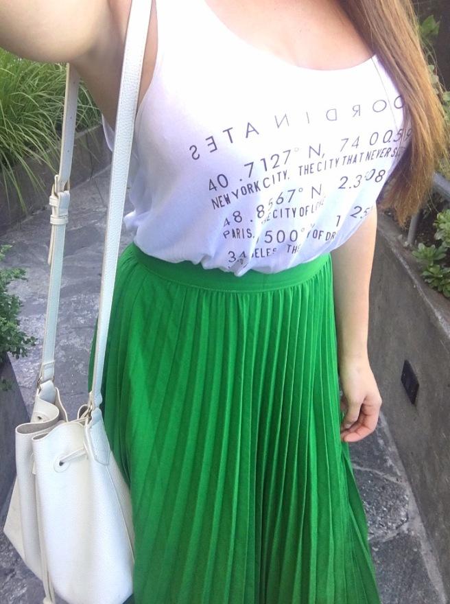 Green Pleated SheIn Maxi Skirt OOTD
