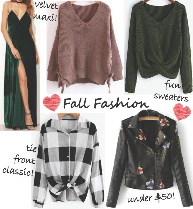 Fall Fashion Wishlist - SheIn.com Clothing (Sweaters, Tops, Leather Jacket, Velvet Maxi Dress)