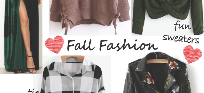 Fall Fashion Wishlist - SheIn.com Clothing (Sweaters, Tops, Leather Jacket, Velvet Maxi Dress)