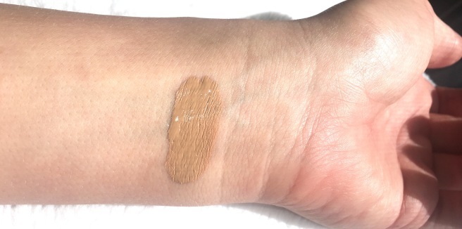 Too Faced Peach Perfect Foundation Review - Sand Swatch (with flash)