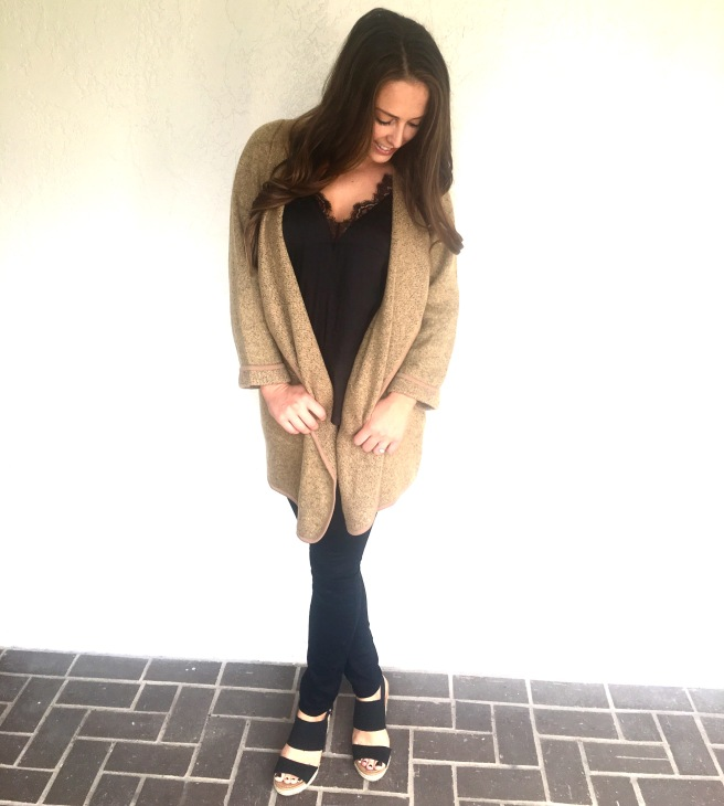 SheIn.com Khaki Lapel Loose Sweater Coat OOTD