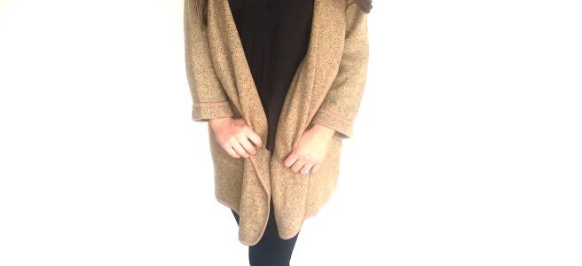 SheIn.com Khaki Lapel Loose Sweater Coat OOTD