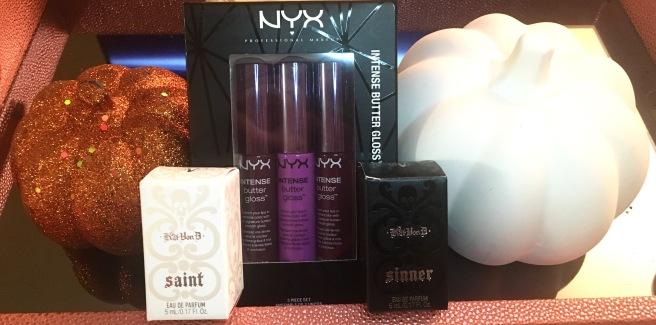 Halloween Giveaway - NYX Butter Gloss & Kat Von D Saint & Sinner Perfumes