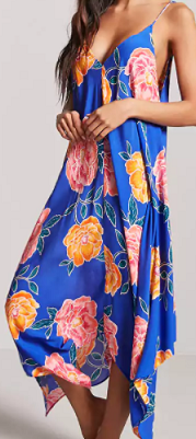 Blue Floral Swim Cover-Up Dress