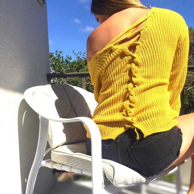 Lace-Up Back Mustard Yellow Romwe Sweater