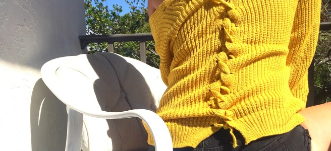 Lace-Up Back Mustard Yellow Romwe Sweater