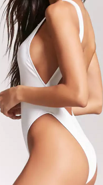 White Scoop-Back One-Piece Swimsuit