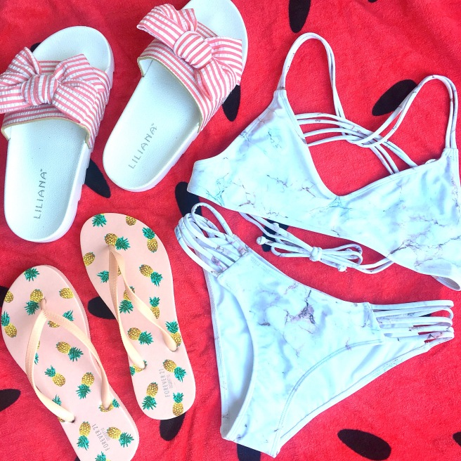 What I Bought in March: Forever21 Spring Finds (bow slides, pineapple flip flops, marble bikini)