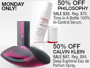 Macy's 10 Days of Glam: Day 4 - Philosophy Time In A Bottle Serum & Calvin Klein Euphoria