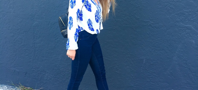 $14 Blue & White Pretty Summer Blouse - Shein.com