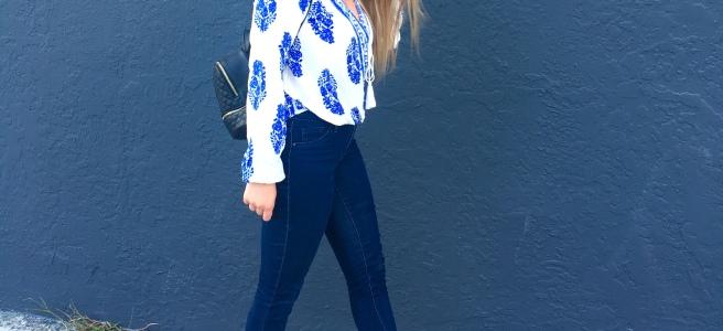 $14 Blue & White Pretty Summer Blouse - Shein.com