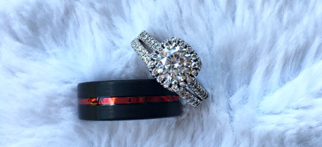 ModGents Affordable Rings - Evermore Engagement Ring + Inferno Wedding Band