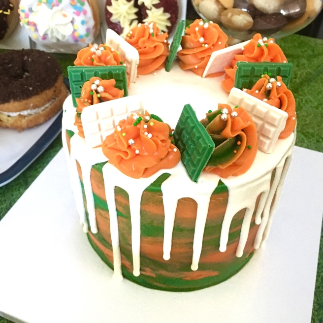Sunday Funday Football Birthday Party - University of Miami Cake