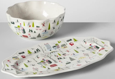Holiday Home Decor Deals: Christmas in the City Serving Bowl & Tray