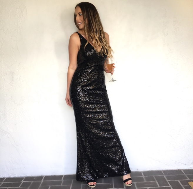 Holiday Party or Wedding Guest Dresses: 'Here to Wow' Black Sequin Maxi Dress from Lulu's